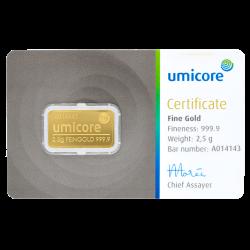 Lingot d'or Umicore certifié de 2,5 gramme