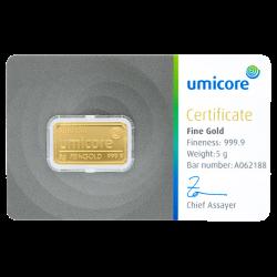 Lingot d'or Umicore certifié de 5 gramme
