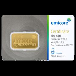 Lingot d'or Umicore certifié de 10 gramme