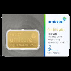 Lingot d'or Umicore certifié de 20 gramme