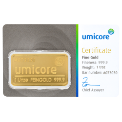 Lingot d'or Umicore certifié de 31,1 gramme