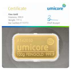 Lingot d'or Umicore certifié de 100 gramme