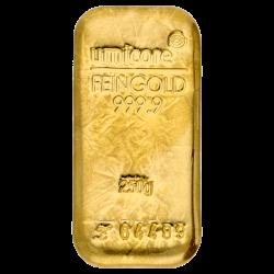 Lingot d'or Umicore certifié de 250 gramme