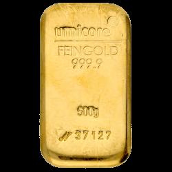 Lingot d'or Umicore certifié de 500 gramme