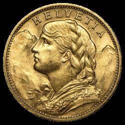 20 francs suisses or diverses années